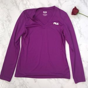 FILA long sleeve workout top shirt purple pink m